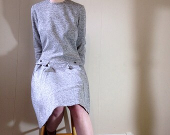 1960s/70s grey wool jersey modette scooter secretary long sleeved shift dress. size 12