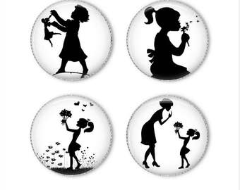 Girl silhouette magnets or pins, nostalgic magnets or pins, refrigerator magnets, fridge magnets, office magnets