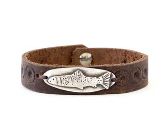 Trout, Sterling Silver, Embossed Leather Cuff