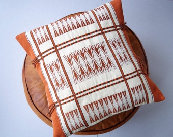 Handmade Orange Cushion inspired from Naga tribal designs 40cm x 40cm (cover only)