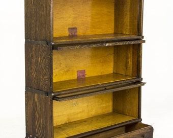B394 Tiger Oak 3 tiered Stacking BookCase with Drawer Globe Werniche and Macey
