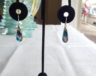 Rainbow Blue Dichroic Glass Earrings