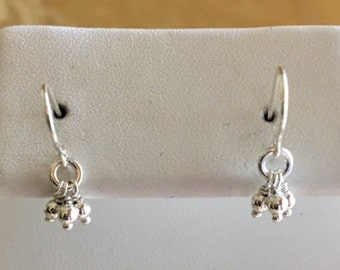 Sterling Silver Bead Tassel Cluster Earrings