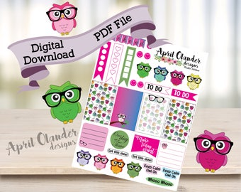 Digital Download Owl Planner Stickers
