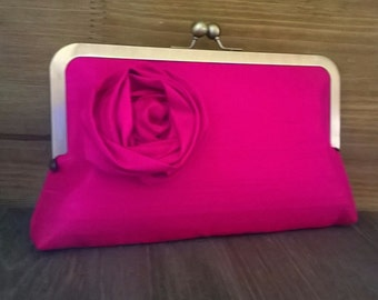 Set of 3 Bridesmaid Silk Clutches Blush Hot Pink Navy Silver Black Ivory Bags Rose Flower