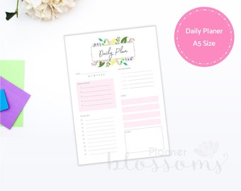 Daily planner insert, printable. Daily plan, pink floral for binder. A5 Size, Portrait. Instant download. PDF File.