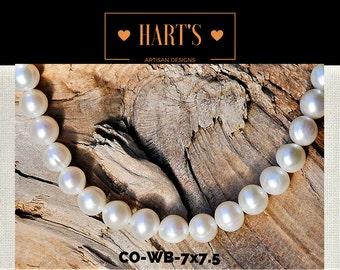 White Cultured Pearl Strand Necklace Silk Hand Knotted  CO-WB-7x7.5