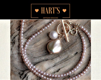 Cultured Pearl Teardrop Pendant & Tiny Rose Pink Cultured Pearl 14K Necklace