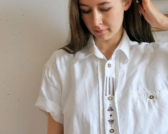 Vintage embroidery white shirt 1990x 1980s short sleeve womens native print hipster blouse
