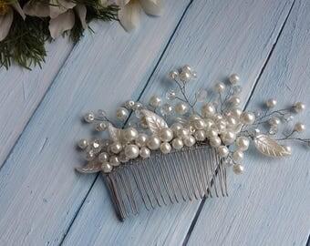Wedding Hair Comb Bridal Hair Comb Crystal Hair Comb Bridal Headpiece Pearl Hair Comb Wedding Hairpiece Bridal Comb Wedding Comb  Headband