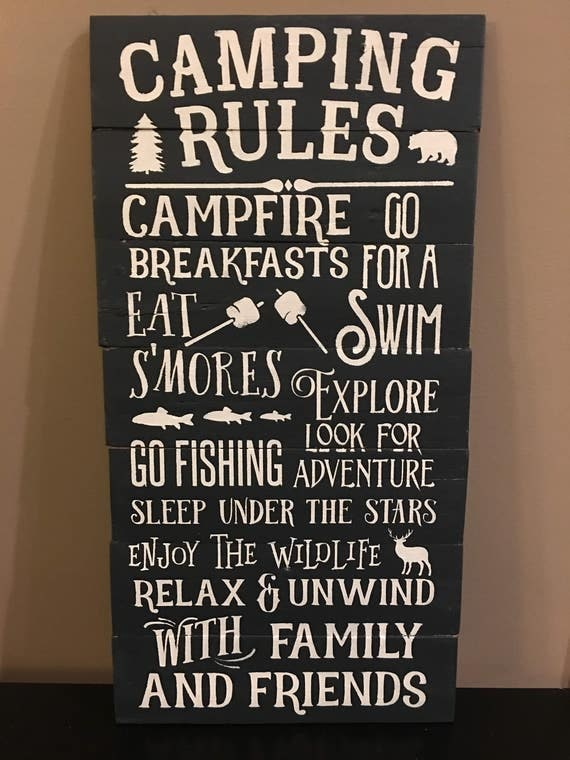 Rustic Pallet Sign Camping Rules Camping Sign