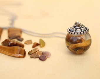 Ball resin stone Tiger Eye necklace pendant