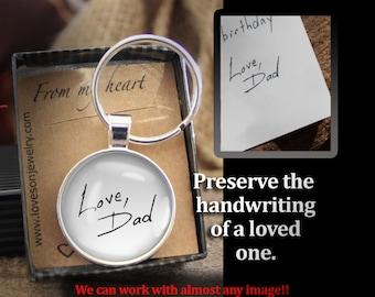 Handwriting Key chain, Custom Made to Order, Child's Handwriting, Loved One's Handwriting, Handwriting Charm,Memorial