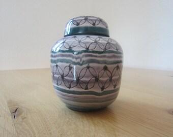 Tea box 60s ceramics with ornamental glaze painting