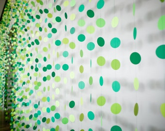 "Paper Garland Party Decor - Hand-Sewn 2.5"" Card Stock Paper Circle Garland Party Pack - Shades of Green - 16' Garland"