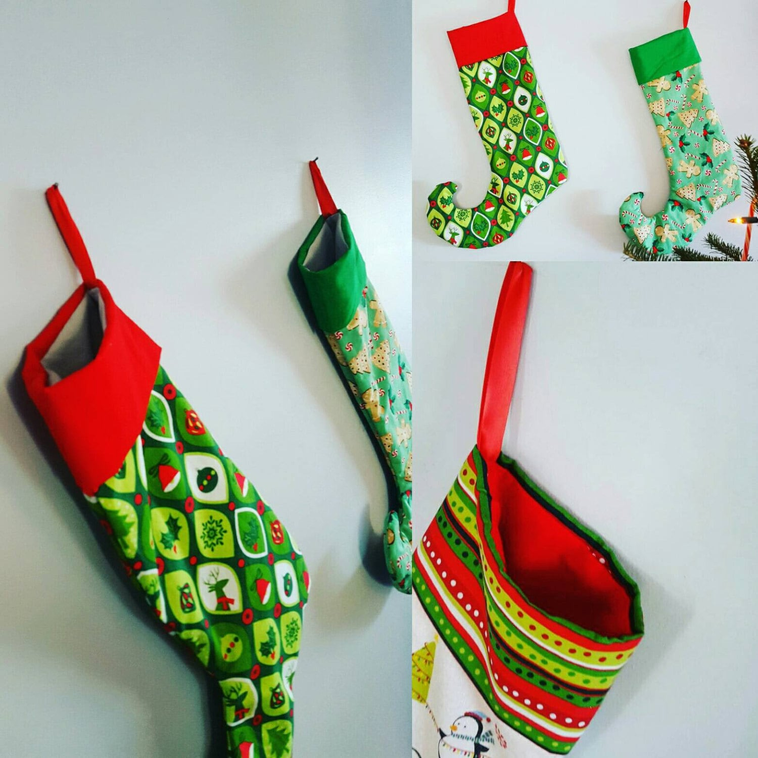 Handmade Christmas Stockings Handmade Holiday Stockings Elf Style Christmas Stockings