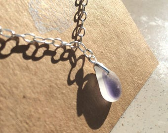 Rare multicoloured lilac sea glass bracelet on sterling silver chain, gifts for her, Mother's Day