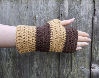 Chocolate and Caramel Fingerless Gloves