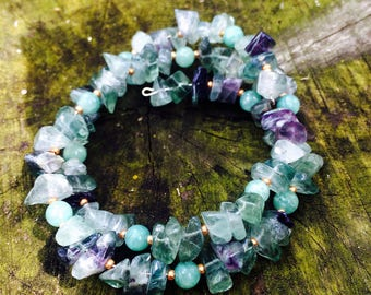 Green & Purple Fluorite Crystal Choker