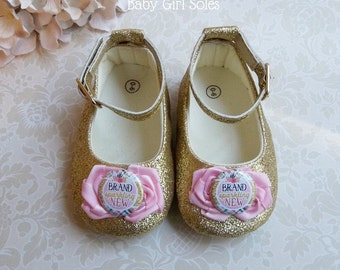 Brand Sparkling New Outfit - Brand Sparkling New Pink and Gold Shoes - Pink and Gold Princess Shoes - Pink and Gold New Baby Girl Shoes