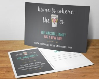 New Home Announcement, Home is Where The Coffee Is, New Address Postcards, Set of 25 5x7 Postcards
