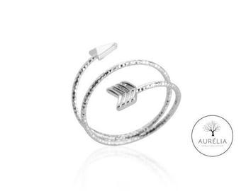 "Silver plated ring ""Arrow"" adjustable"