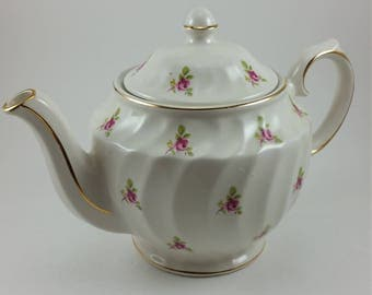 Vintage Sadler Teapot with Pink Flowers and Gold Trim