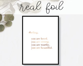 Darling You Are Print // Real Gold Foil // Minimal // Gold Foil Art // Home Decor // Modern Office Print // Typography // Fashion Print