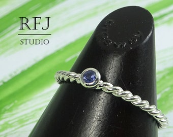 Natural Iolite Silver Rope Ring, 2 mm Round Cut Earth Mined Iolite Ring, Braided Sterling Iolite Ring Blue Genuine Iolite Twisted Stack Ring