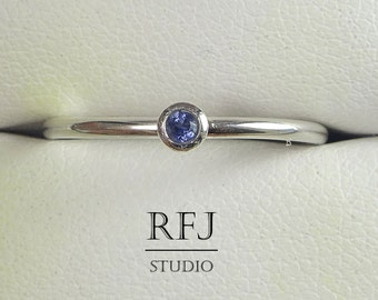 Natural Iolite Sterling Silver Ring, Genuine Iolite Stackable Ring, 2 mm Round Cut Iolite Ring Blue Earth Mined Iolite Stacking Classic Ring