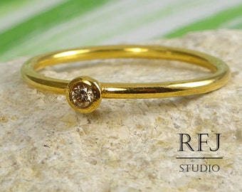 24K Gold  Lab Cognac Diamond Ring, Yellow Gold Plated Cognac 2 mm Cubic Zirconia Ring, Stacking Gold Diamond Ring, Stackable Golden Ring