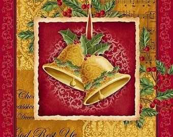 """Christmas Fabric: Christmas Christmas Bells and Music notes, Holly Berries 100% cotton Fabric by the PANEL 35.5""""x 44""""  (E195)"""