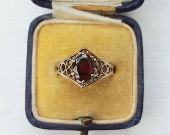 Vintage Red Garnet Gold on Silver filigree arts and crafts ring - retro solitaire promise
