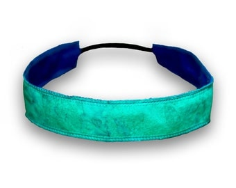 Cotton Headband - Teal Marble Tie Dye Batik with Blue Back