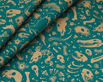 Animal Bones Fabric Collection - Animal Series - Hand-Screenprinted, Hand-Drawn Pattern - 100% Cotton