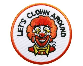 Let's Clown Around Embroidered Applique Iron on Patch 8 cm. x 8 cm.