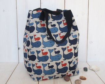 Big Maritime Canvas Tote Bag Beach Shopping Market Whale red blu