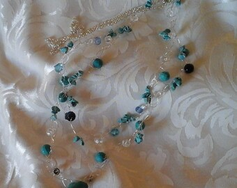Genuine Turquoise and Crystal Necklace