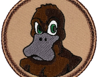 Angry Platypus Patch (381) 2 Inch Diameter Embroidered Patch