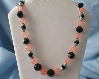"""Handmade Black & Pink Necklace + Earrings - Used Vintage Glass  Beads - Silver Accents - Toggle clasp -Length 22"""""""