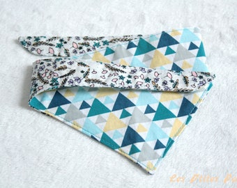 Reversible dog bandana triangles and small flowers S size