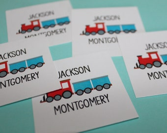Personalized Train Enclosure Cards / Stickers - Red and Blue