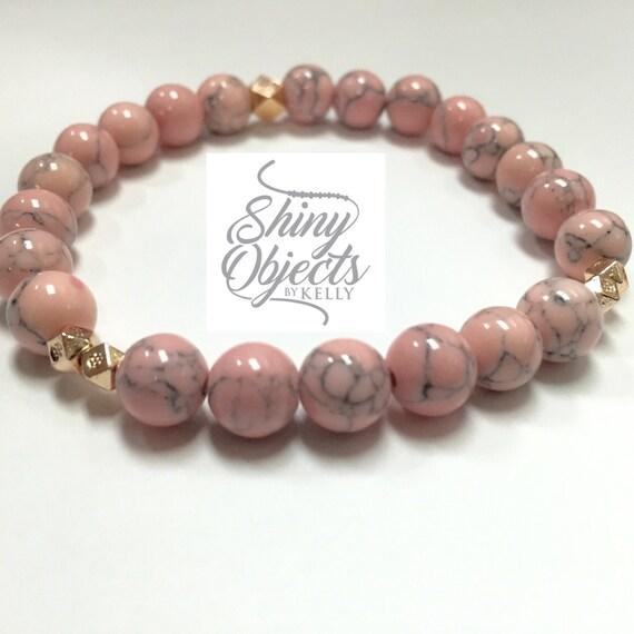 Pink Magnesite and Rose Gold Bracelet