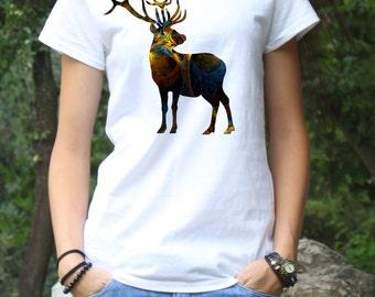 Deer Tee - Art T-shirt  Fashion Tee - White shirt - Printed shirt - Women's T-shirt