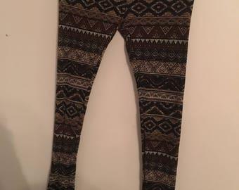 Brown Tribal Pattern Leggings Size S/M