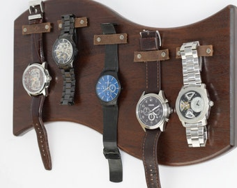 Curved Walnut Hanging Watch Display // Leather Strap Magnetic Holder // 5 Watch Display