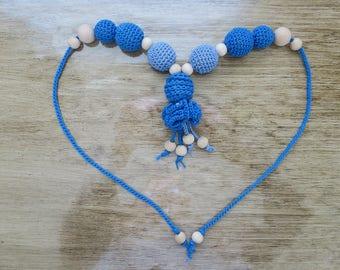 Crochet Blue Bead Necklace nursing necklace teething necklace baby teething baby shower gift