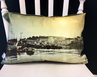 Brixham Harbour handmade cushion cover