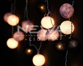 20 Goth Black White Gray Cotton Ball Fairy Lights Indoor String Lights Christmas Lights Gifts Wall Hanging Bedroom Patio Party Home Decor