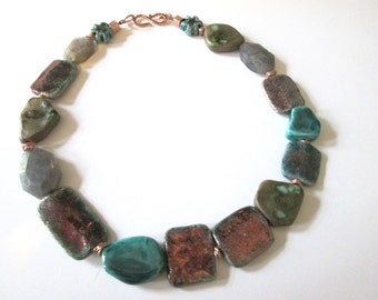 Necklace/chain Ceramic beads labradorite Gold/turquoise/petrol/fancy/handmade/avantgarde/gift for you/jewelry Christmas gift